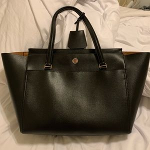 Tory Burch Small Robinson Tote - Black Leather